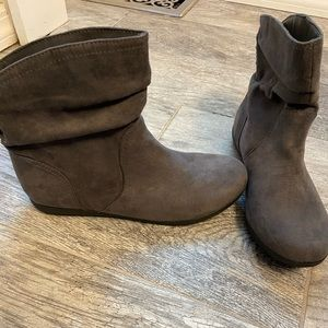 Grey faux suede boots